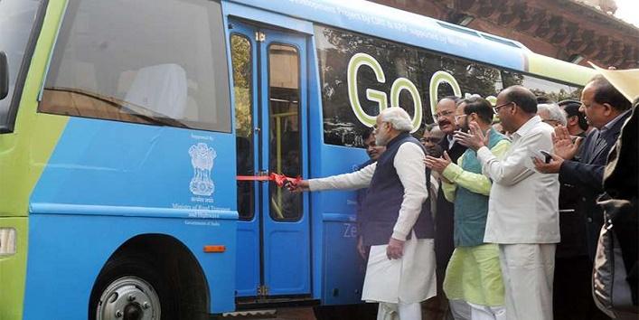 PM Narendra Modi launches Go Green bus