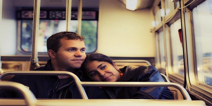 couple in train