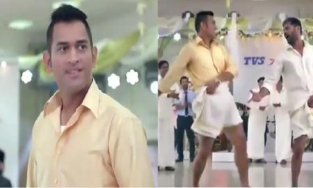 dhoni in lungi dance